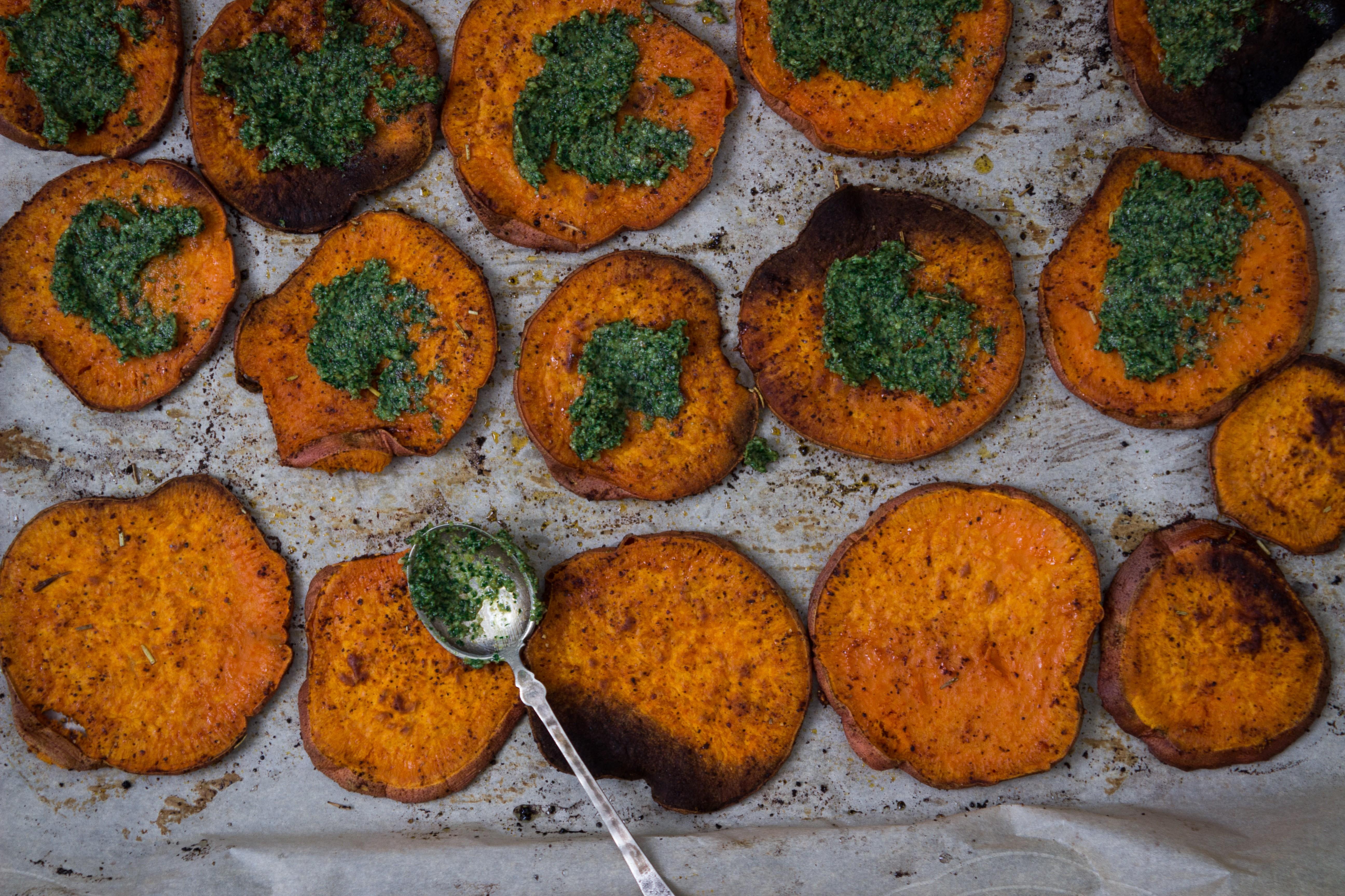 Roasted Sweet Potato with Kale + Walnut Pesto